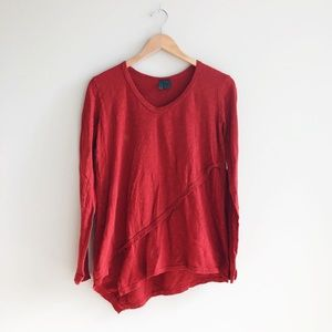 Anthro Left of Center Asymmetrical Long Sleeve Top